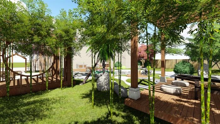 别墅庭院花园景观设计su精品模型(14)
