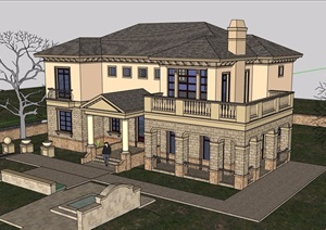 详细的完整欧式风格多层别墅设计su模型