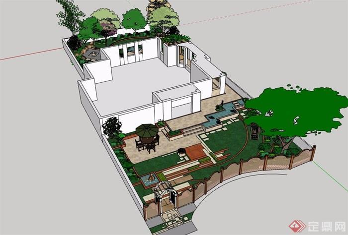 某详细的完整别墅庭院详细景观设计su模型