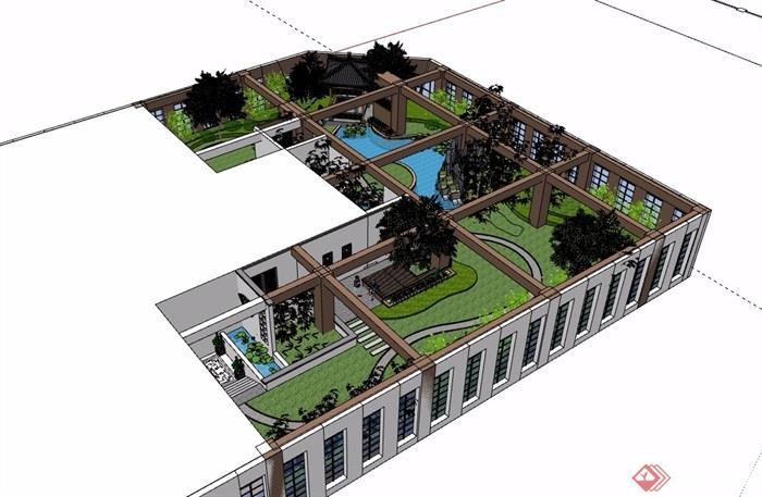 中式屋顶花园庭院景观设计su模型