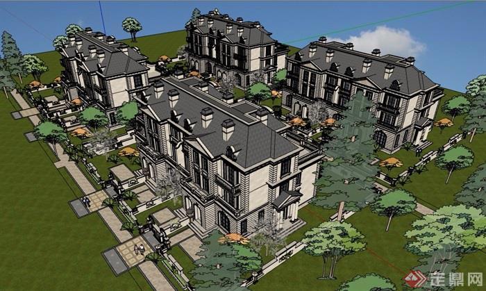 法式风格详细的小区多层别墅su模型