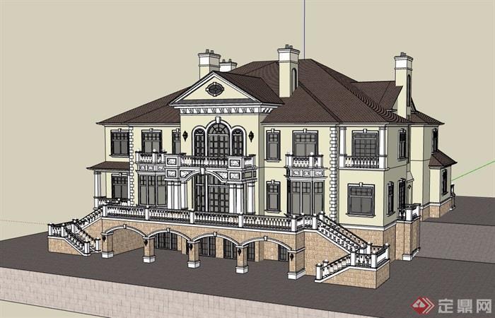 欧式风格详细的整体完整住宅别墅su模型