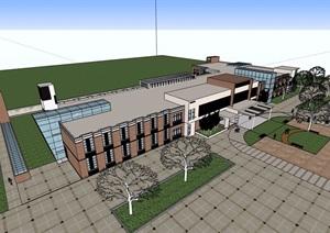 现代风格详细的医院多层间杂设计SU(草图大师)模型