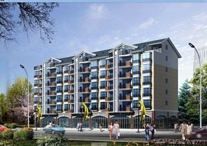 欧式风格多层住宅楼建筑设计cad方案