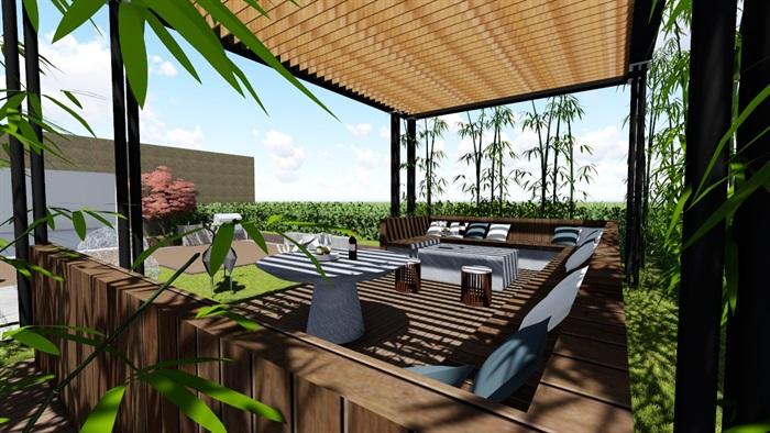 现代露台花园景观设计su精品模型(1)