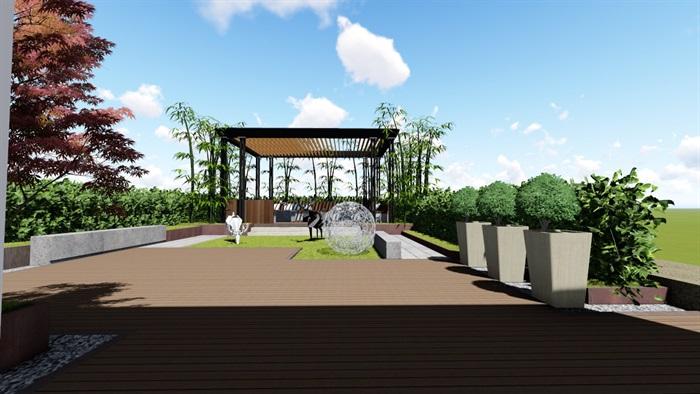 现代露台花园景观设计su精品模型(2)
