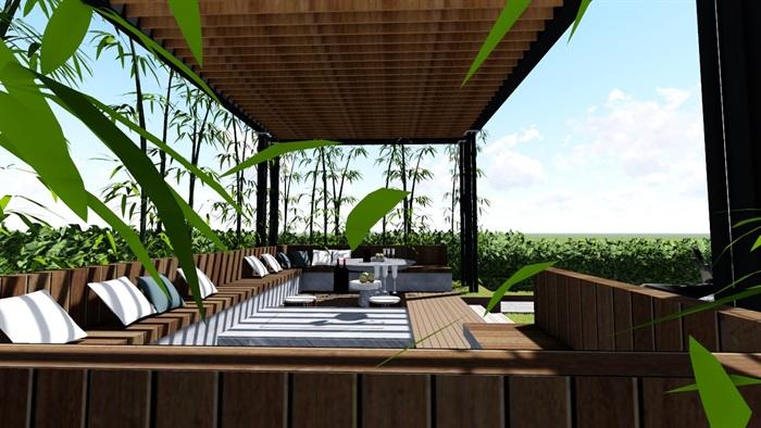 现代露台花园景观设计su精品模型(8)