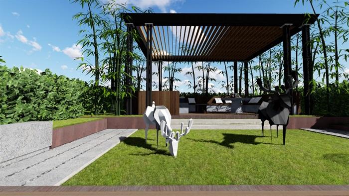 现代露台花园景观设计su精品模型(9)