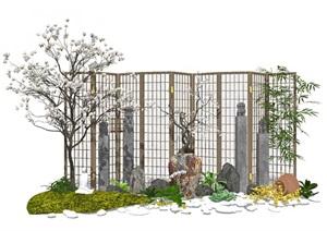新中式景观小品 庭院景观 隔断屏风 植物 陶罐组合SU(草图大师)模型