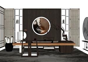 新中式书房 书桌组合SU(草图大师)模型