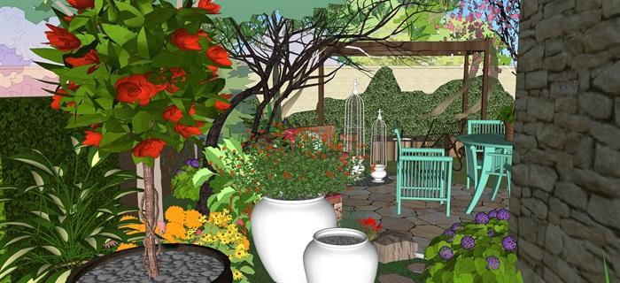 歐式別墅庭院小花園su精品模型(1)