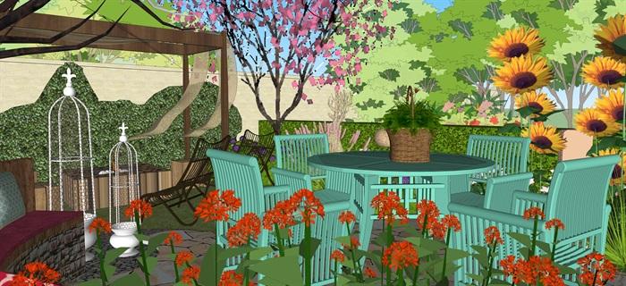 歐式別墅庭院小花園su精品模型(3)
