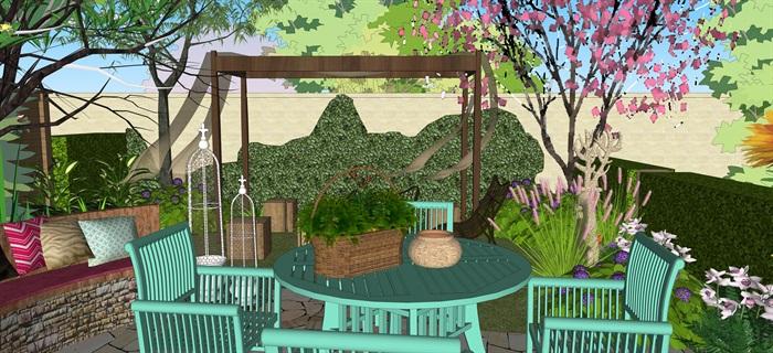 歐式別墅庭院小花園su精品模型(6)