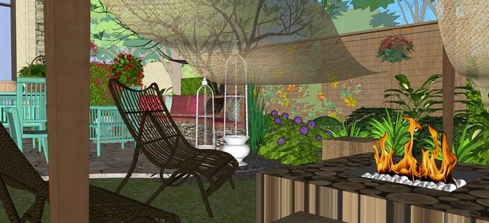 歐式別墅庭院小花園su精品模型(9)