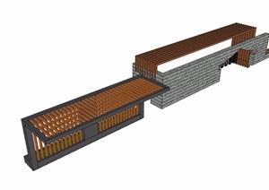 两个不同的廊架详细完整设计SU(草图大师)模型