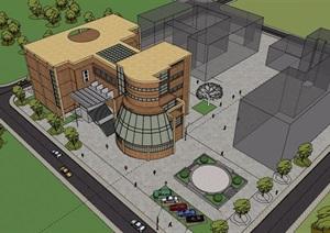 某现代风格详细的完整图书馆建筑设计SU(草图大师)模型