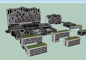某详细的完整医疗医院建筑设计SU(草图大师)模型