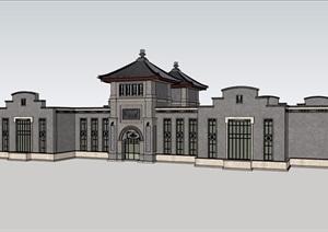 某混搭单层详细的完整会所建筑设计SU(草图大师)模型