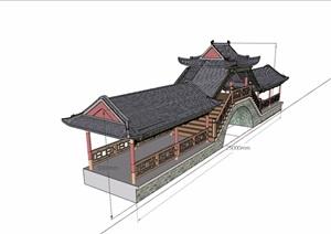 古典中式风格详细的廊桥素材设计SU(草图大师)模型