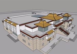 西藏博物馆详细完整建筑设计SU(草图大师)模型