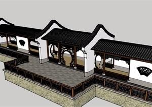 徽派廊架详细完整设计SU(草图大师)模型