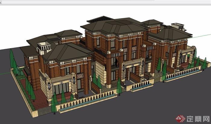 歐式經典詳細的完整多層住宅別墅su模型