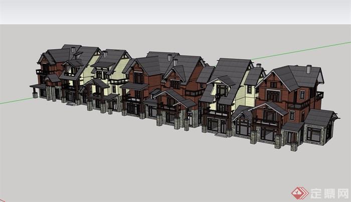 歐式風格詳細的小區多層完整別墅設計su模型