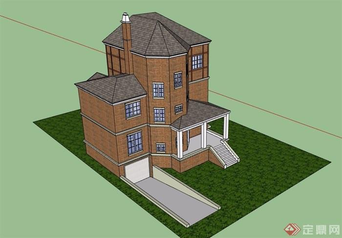歐式風格詳細獨棟三層住宅別墅設計su模型