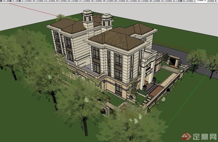歐式詳細的經典完整住宅別墅設計su模型
