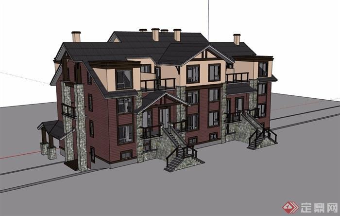 英式風格詳細的整體住宅別墅設計su模型