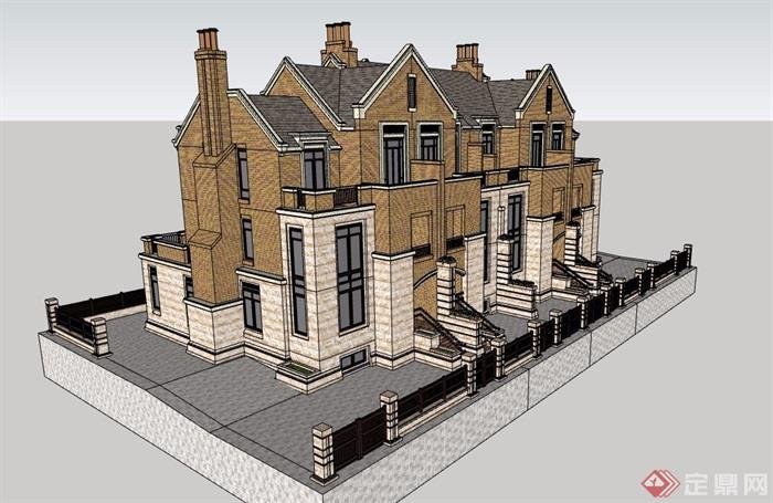 英式風格詳細的經典完整別墅su模型