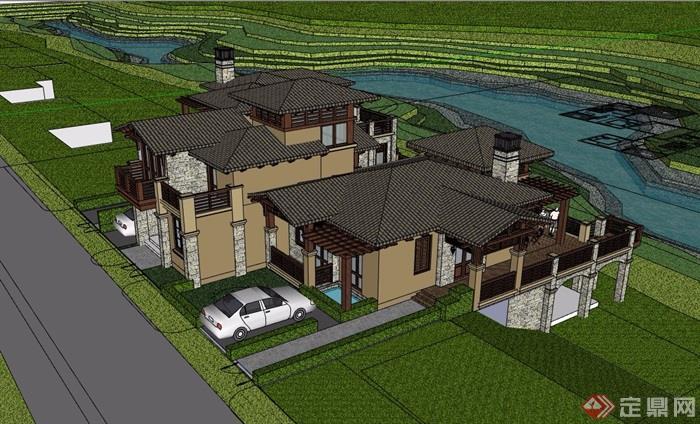 英式風格詳細的經典完整別墅建筑設計su模型