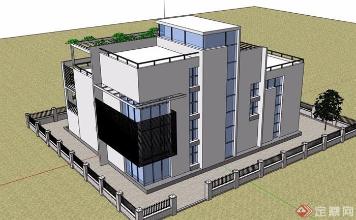 現代風格詳細的經典完整住宅別墅設計su模型