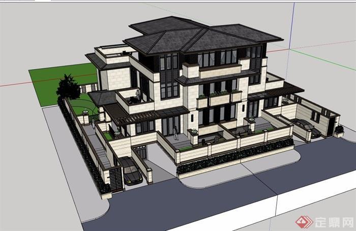 詳細的經典完整雙拼住宅別墅設計su模型