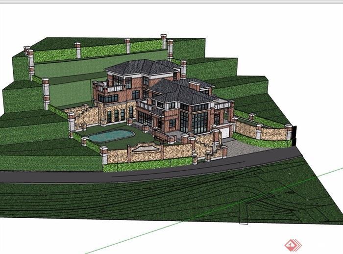 歐式風格詳細的經典山地別墅su模型