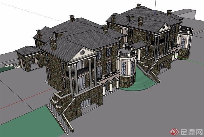 經典詳細的完整住宅別墅設計su模型
