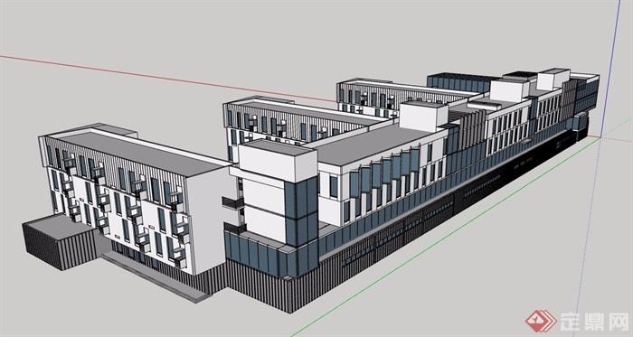 學校教學樓多層詳細設計su模型