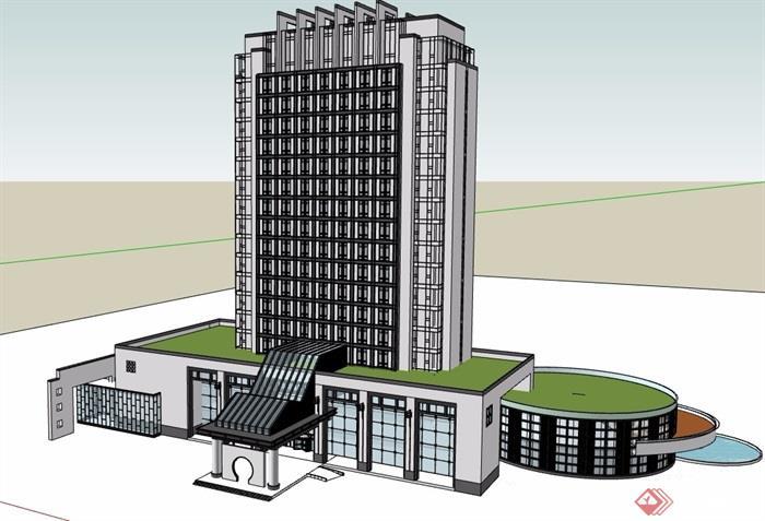 現代中式酒店帶裙樓大廈SU模型