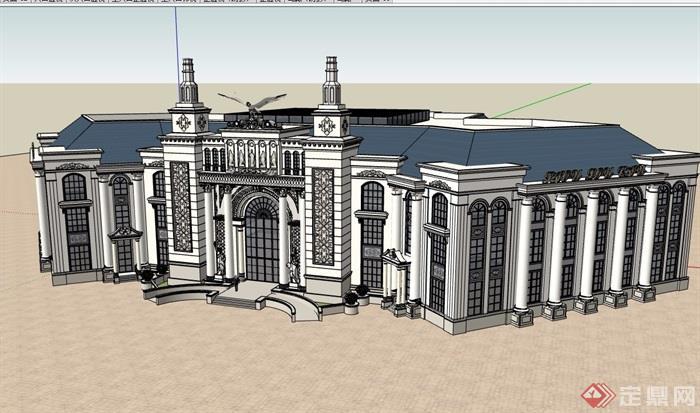 某詳細的完整歐式售樓處三層建筑設計su模型