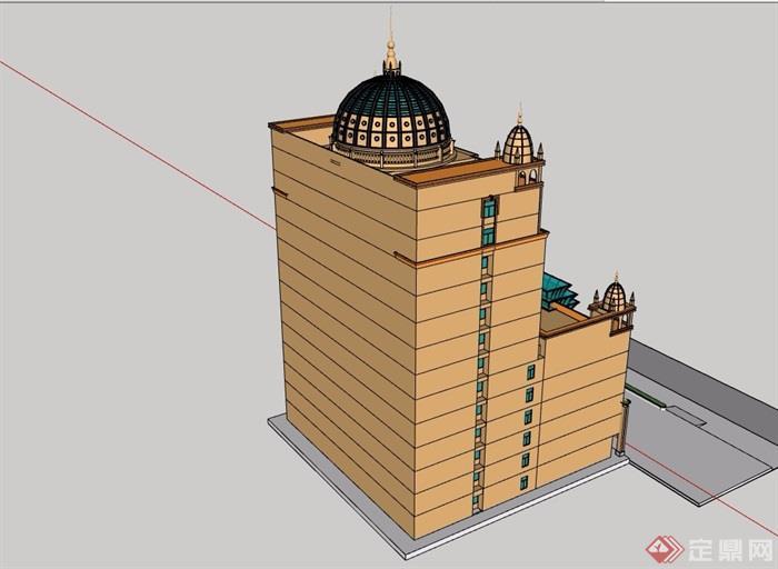 歐式風格詳細獨棟經典酒店素材設計su模型