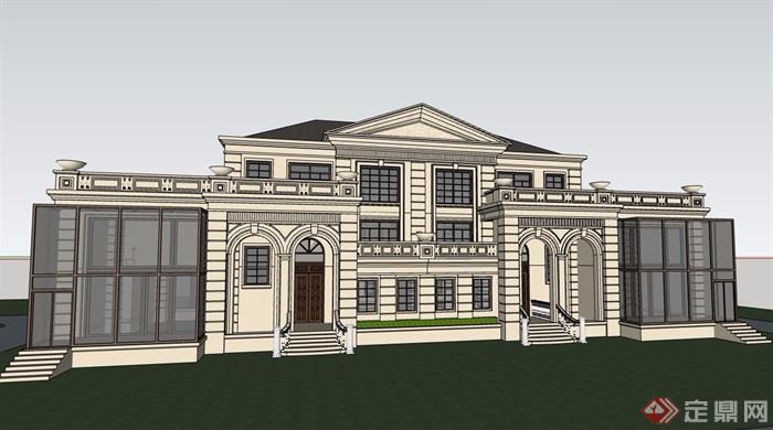 經典詳細的完整多層別墅設計su模型