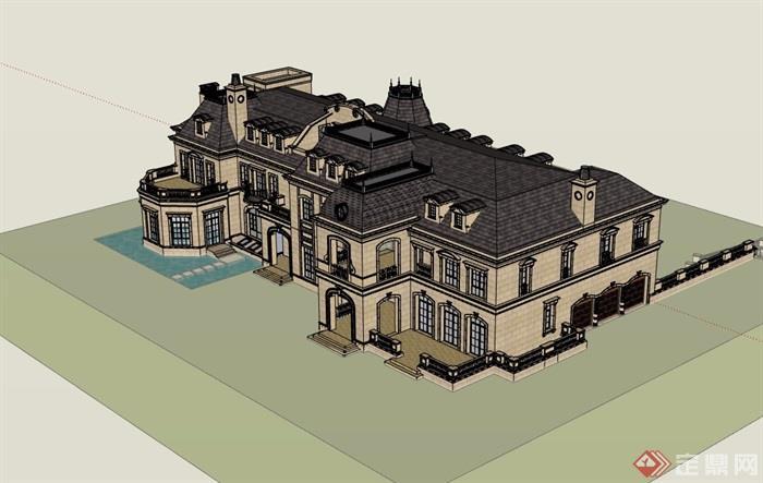 法式洋房多層詳細完整設計su模型