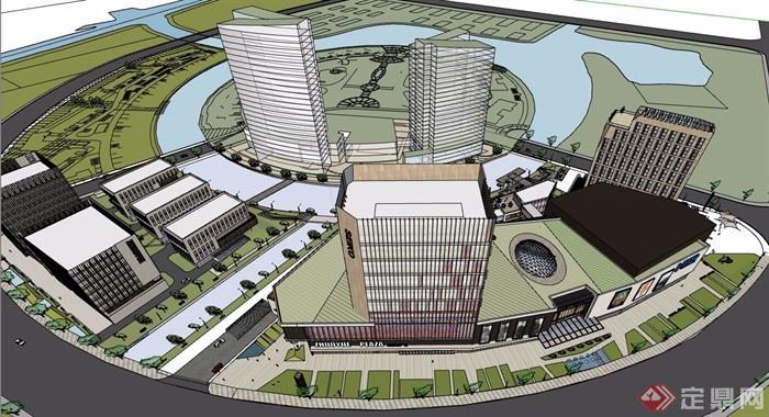 大型商業辦公詳細綜合體建筑su模型