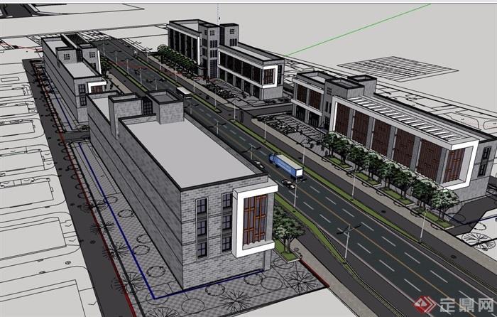 某現代風格詳細的完整多層商業建筑su模型
