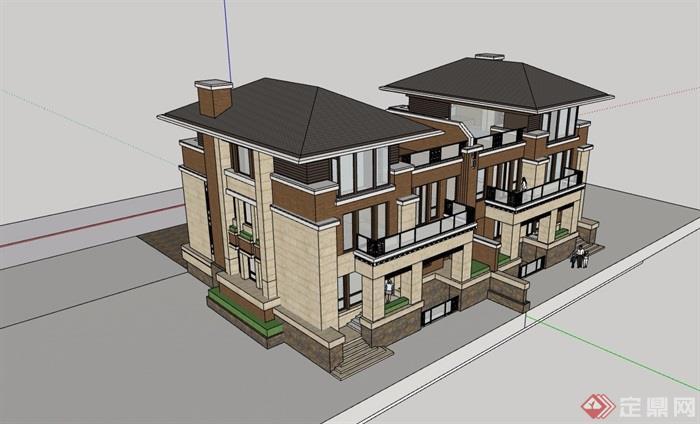 歐式風格詳細的住宅雙拼別墅su模型
