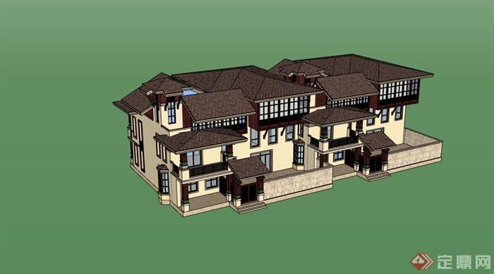 詳細的整體住宅雙拼別墅su模型