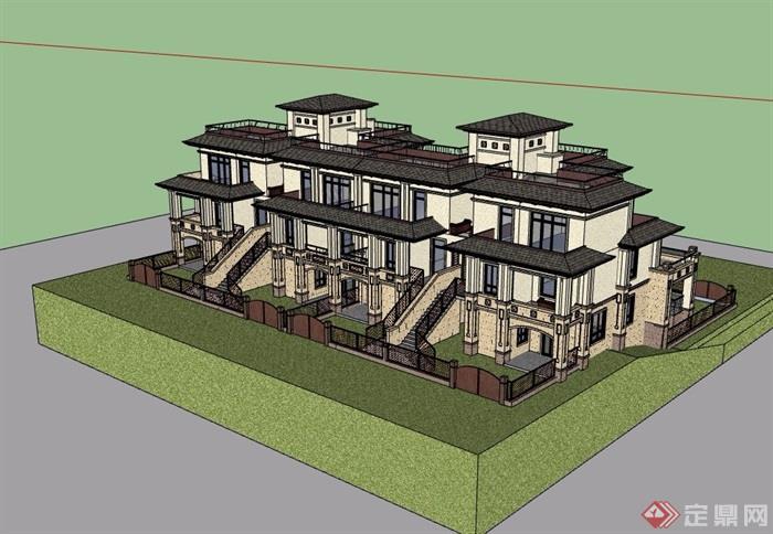 某詳細的整體聯排別墅設計su模型