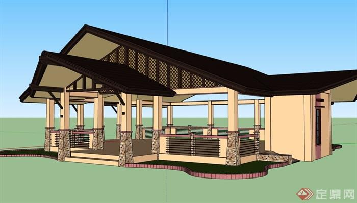 中式風格詳細的經典完整亭子素材設計su模型