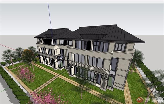 中式風格詳細的經典完整住宅小區別墅設計su模型