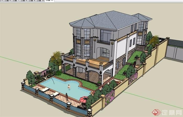 歐式風格詳細的經典完整私人別墅su模型